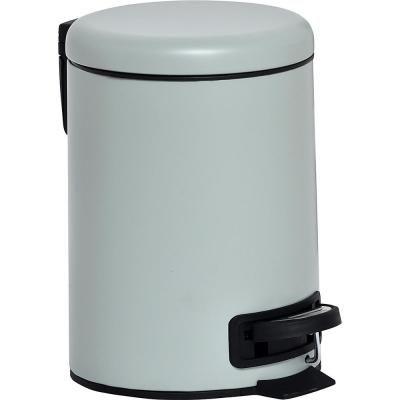 Evideco 3 L 0 8 Gal Nordic Soft Close Small Round Metal Bath Floor Step Trash Can Waste Bin Almond Green Bathroom Accessories Sets Bath Accessories Metal