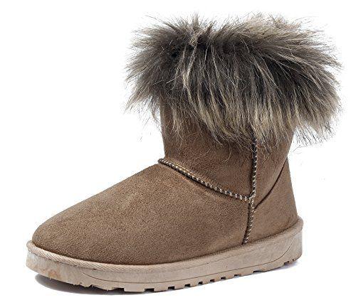 f6b34c2f15fdad AgeeMi Shoes Femmes Neige Bottes Pluie Fourrure Doublée Hiver Short Suède  ChaleureuxEuX10 Brun 38