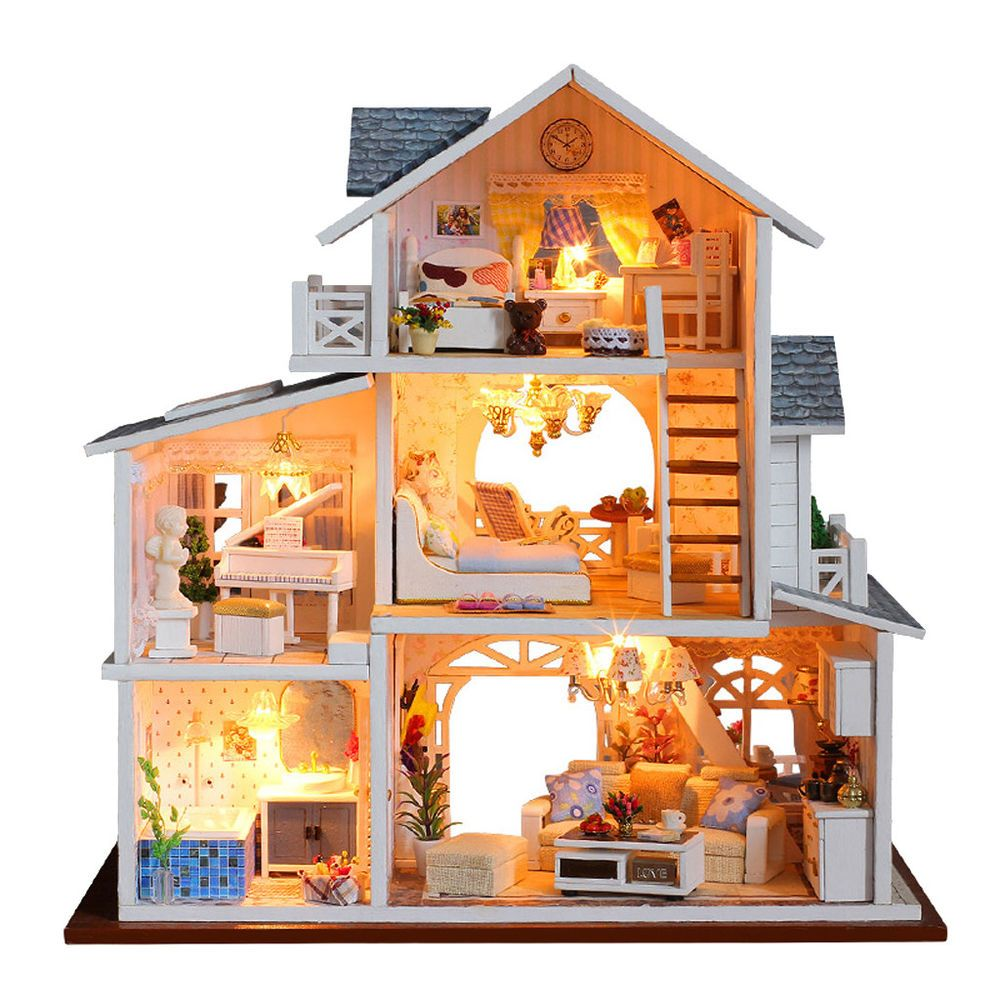 DIY Dolls House Kit Wooden Miniature with Furniture LED