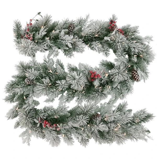 174cml Snowy Bedford Garland Lightsuponline Garland Wreaths And Garlands Bedford