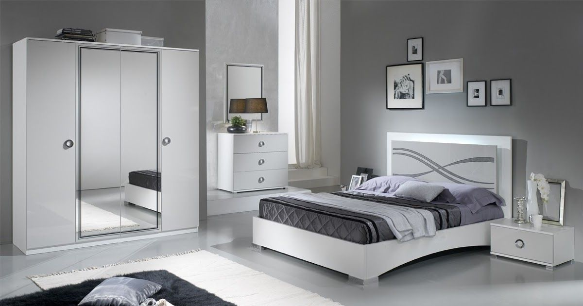Paticial White And Light Grey Gloss Full Bedroom Set With Double Bed Bedroom Style Modern H In 2020 White Bedroom Set Furniture White Gloss Bedroom Bedroom Bed Design