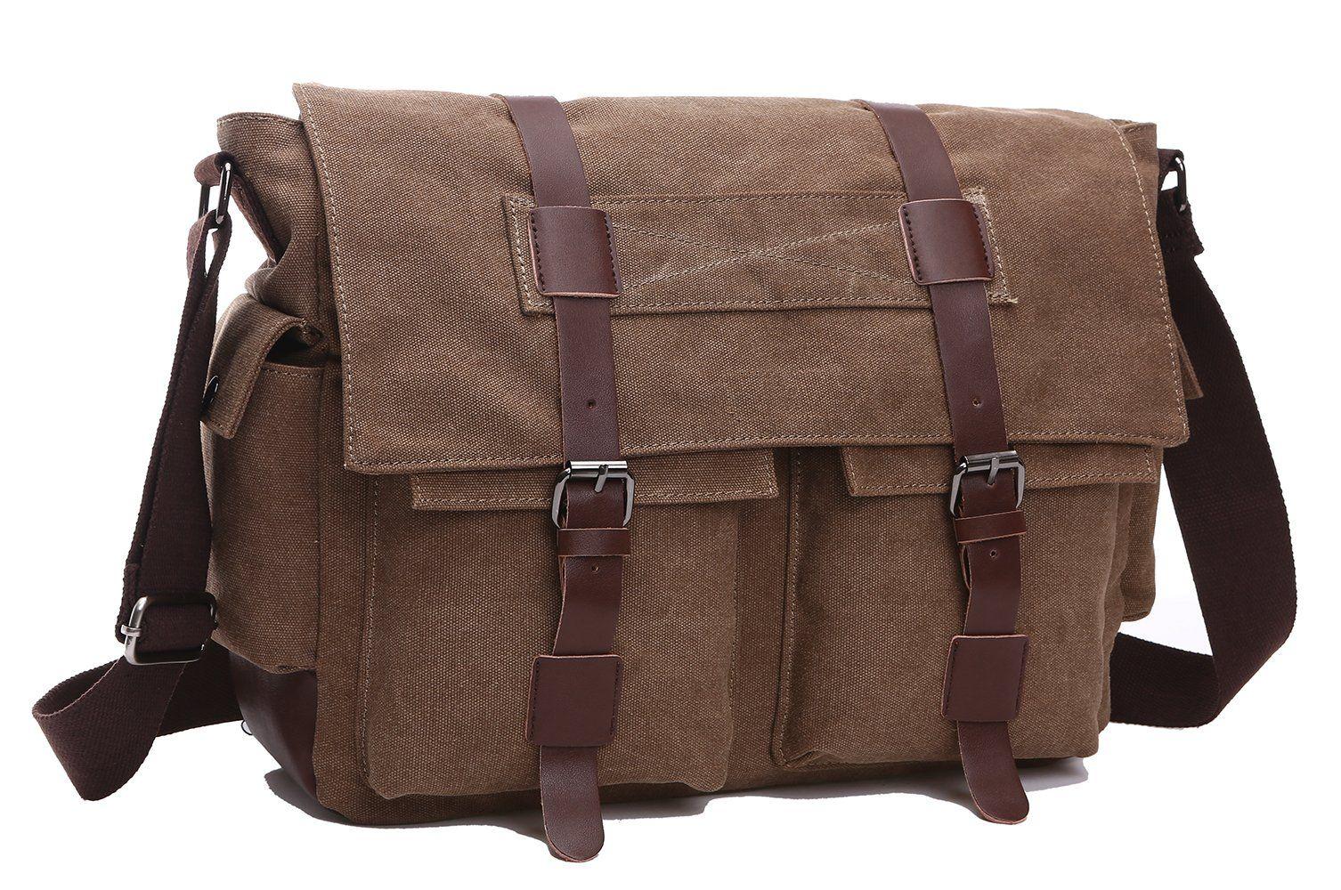 e4ea0b16dc ZUOLUNDUO Vintage Canvas Laptop Messenger Bag School Bag Business Briefcase  8168DJ1