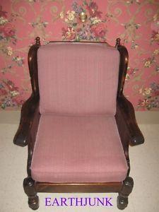 Ethan Allen Club Chair Antiqued Tavern Pine Framed Cushions Remove 12 7621