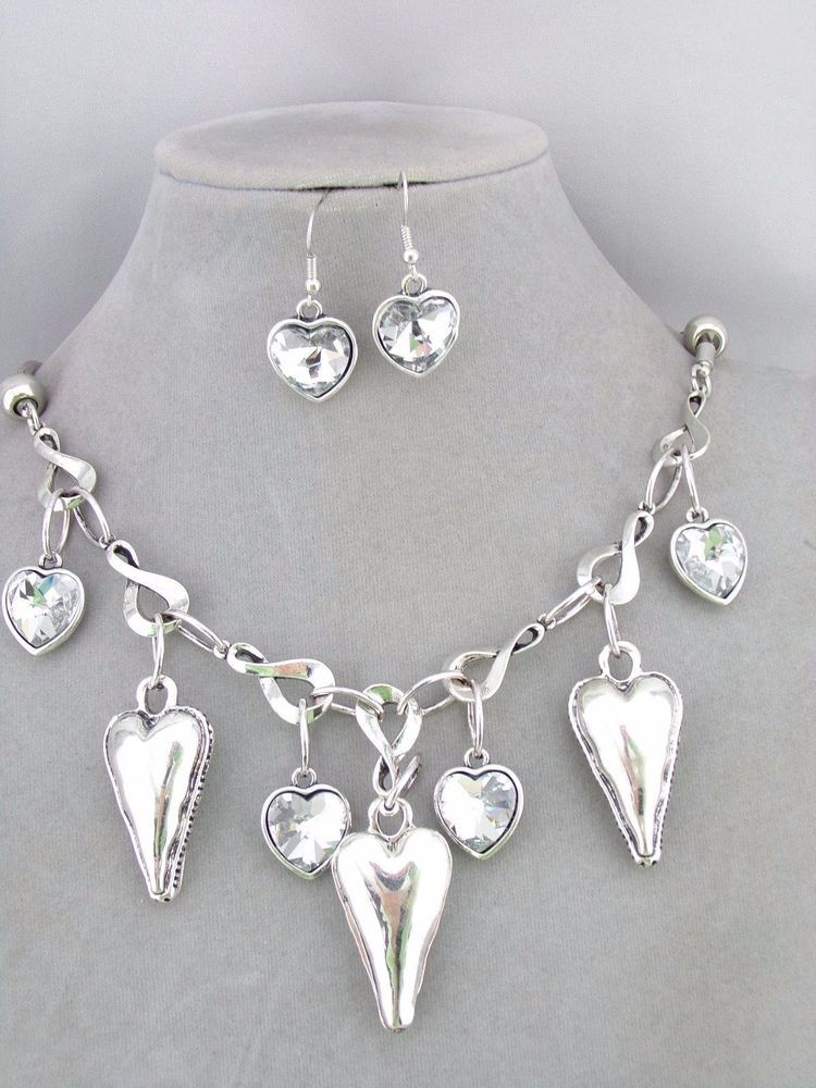 Silver Heart Dangle Necklace Earring Set Crystal Rhinestone Fashion Jewelry NEW #Unbranded
