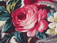 30's California Arts and Crafts Cabbage Roses on Cream VTG Barkcloth Fabric