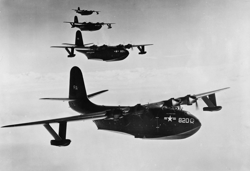 Four Martin JRM-3 Mars flying boats in formation. (U.S. Navy ...