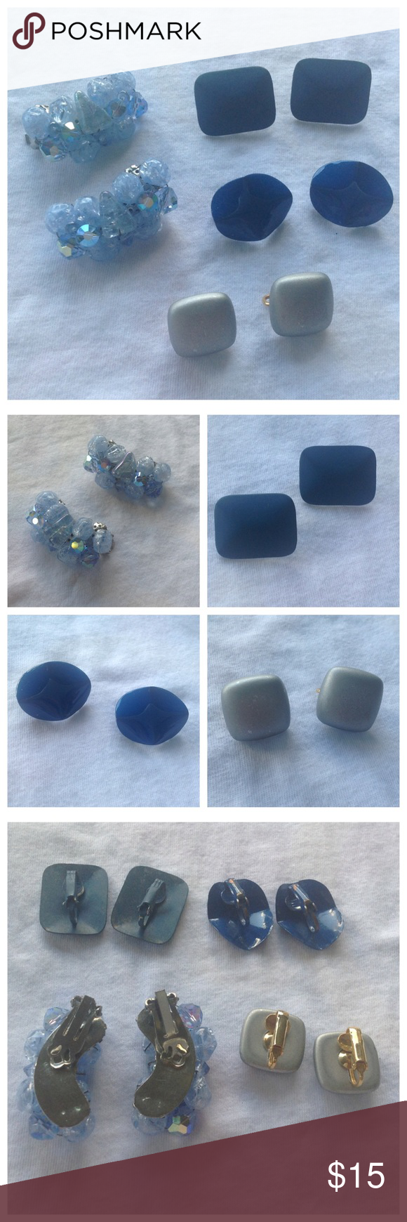 4 Pair Vintage Clip On Earrings 4 Pair vintage clip on earrings. Jewelry Earrings
