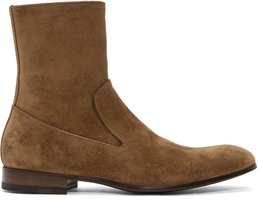 leather boots men suede high sole zipper