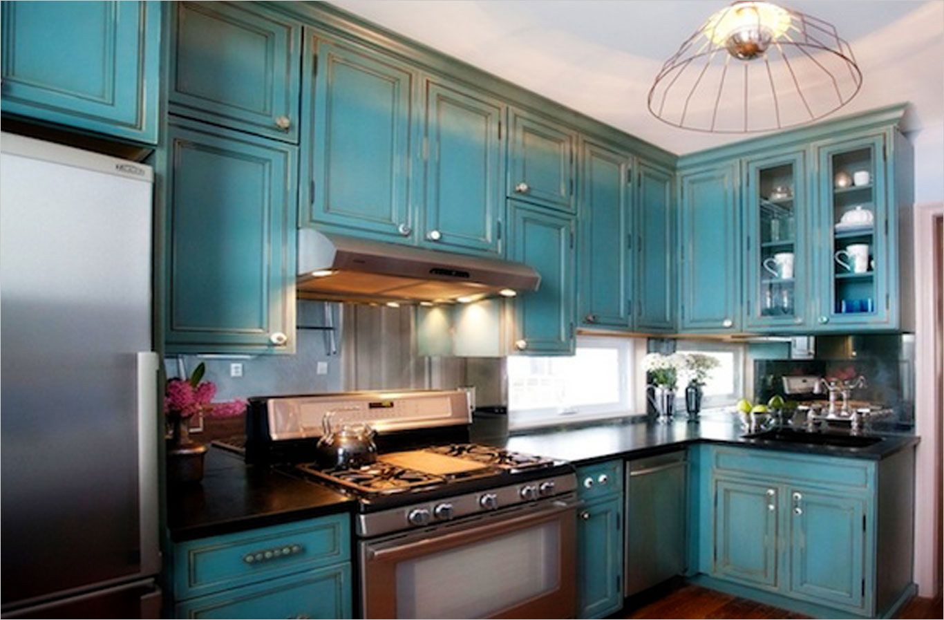 Beautiful Teal Kitchen Cabinets For Kitchen Remodeling Ideas Pendant Lighting With Teal Distressed Kitchen Cabinets Distressed Kitchen Black Kitchen Cabinets