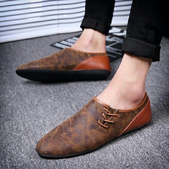 US 29 New Arrival Spring Hip Hop Style Mens Dress Shoes Leather Mens Slip Ons High Quality Zapatos Hombre Soft Marron G shoes casuales cómodos de vestir deportivos...