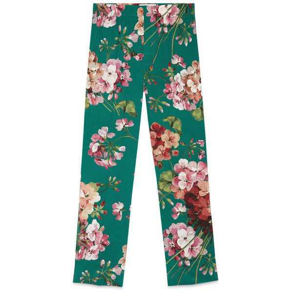 Gucci Blooms Print Pajama Pant ($770) ❤ liked on Polyvore featuring pants, emerald, pants & shorts, ready to wear, women, blue pants, floral print trousers, floral printed pants, floral print pants and gucci