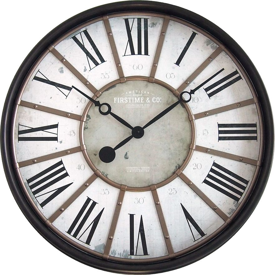 29 Roman Farmhouse Wall Clock Oil Rubbed Bronze Firstime Co In 2021 Big Wall Clocks Oversized Wall Clock Gear Wall Clock
