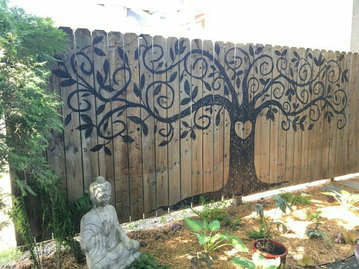 Tree Painted On Fence Garden Fence Art Garden Mural Fence Art