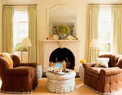 2 Chairs And An Ottoman The Perfect Setting In Front Of A Fireplace Love How Warm The Room Looks Neutral Living Room Trendy Living Rooms Living Room Green