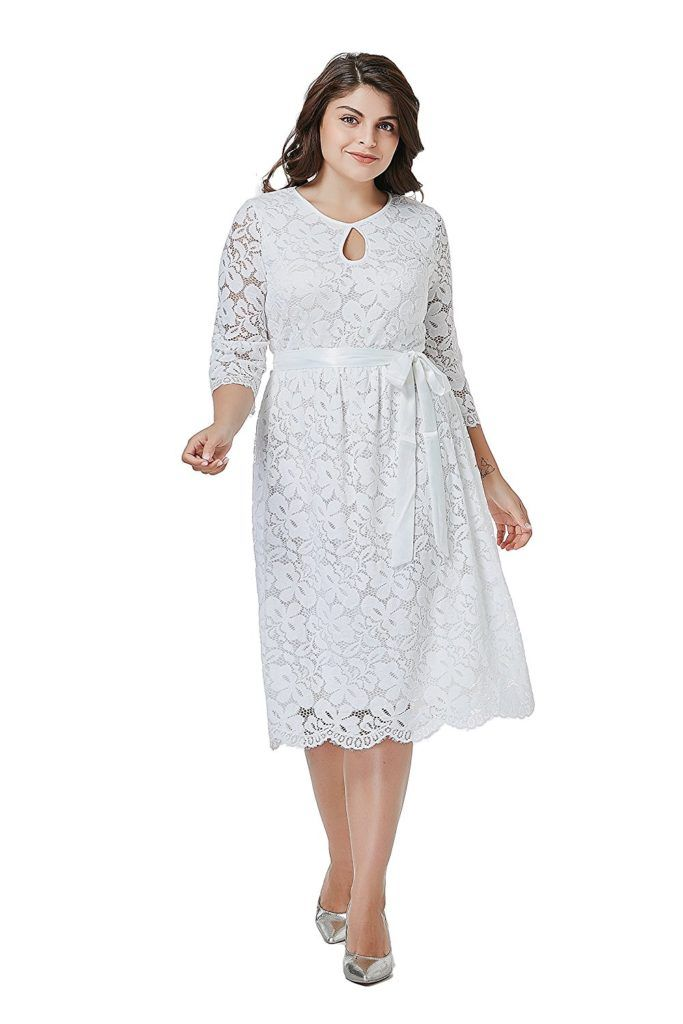 Gmho Womens Lace Plus Size 34 Sleeves Midi Business Cocktail Short
