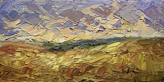 """Scattered Clouds 6"""" x 12"""" Palette Knife Oil"""