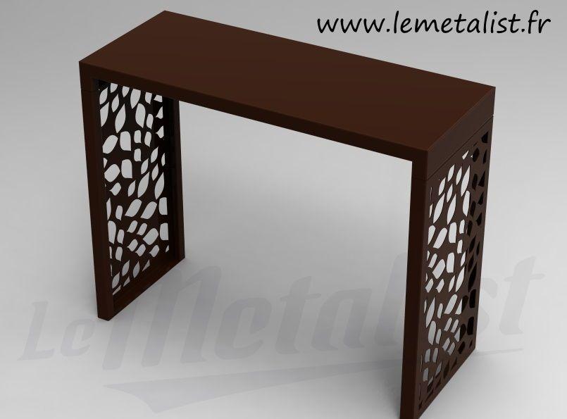 console en m tal peinte avec motif d coup au laser. Black Bedroom Furniture Sets. Home Design Ideas