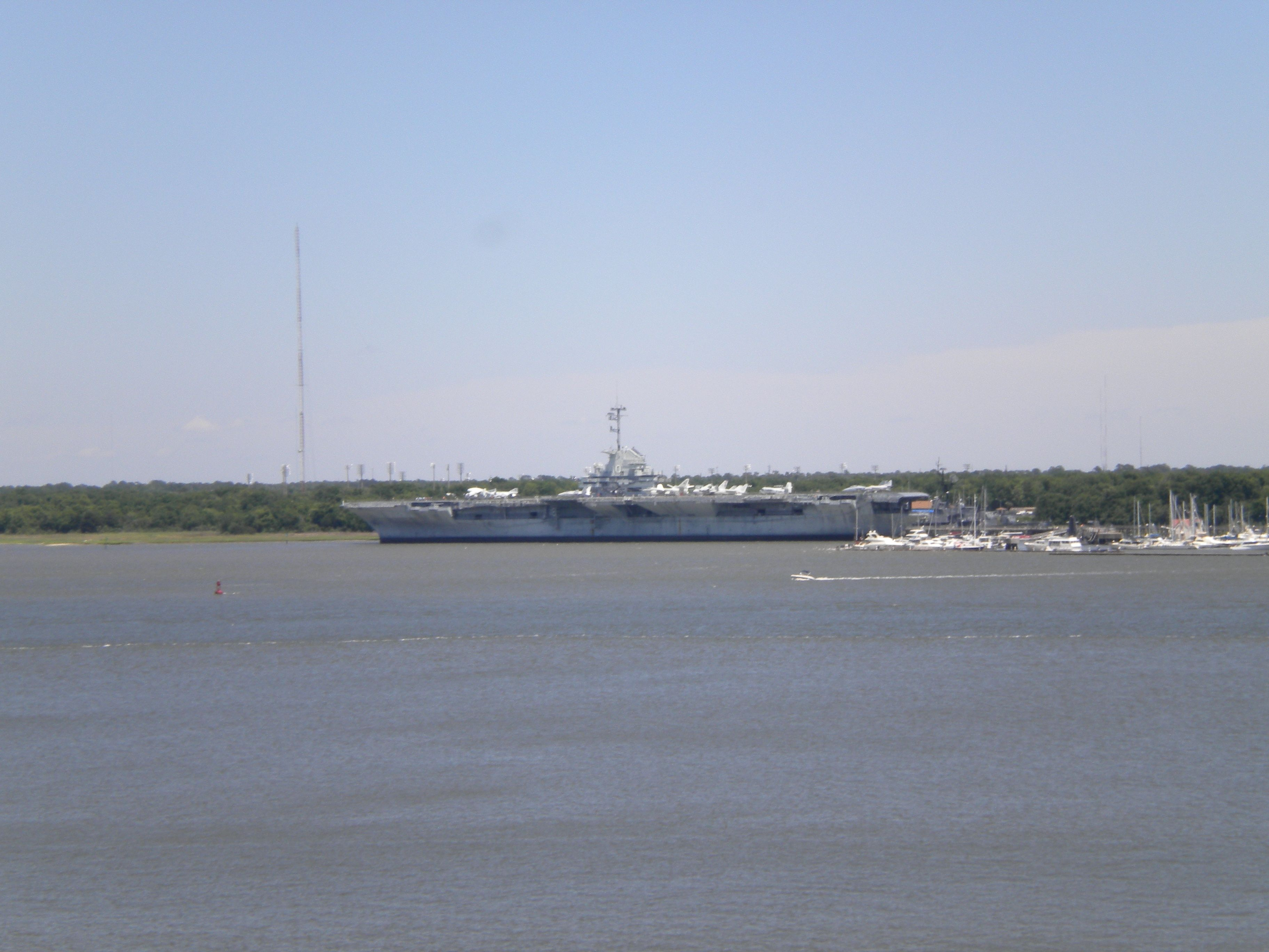 USS Yorktown moored on across from our ship.