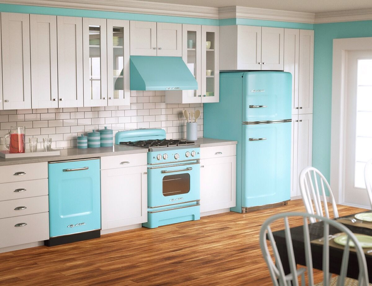 Actually plain white appliances would be fine color can come from things that are easier to change from time to time modern 1950s kitchen