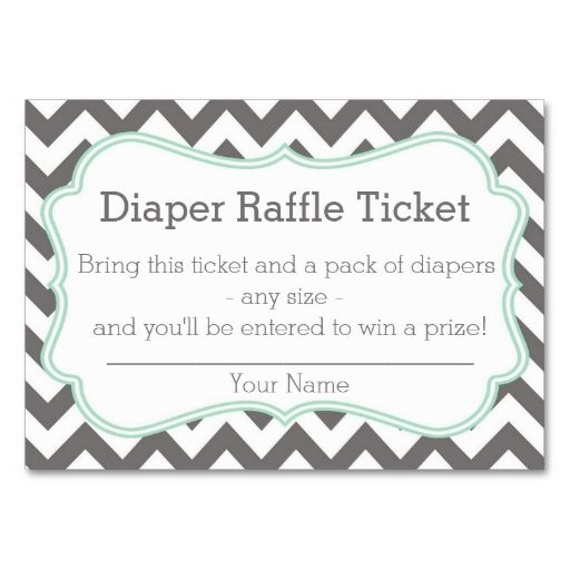 Grey And Mint Chevron Diaper Raffle Ticket Business Cards This