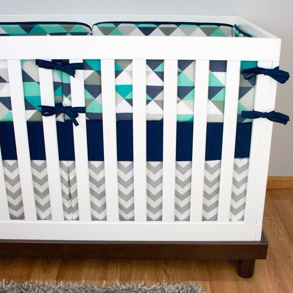 Mint and Navy Crib Bedding Cribset Custom Baby by modifiedtot | Reid ...