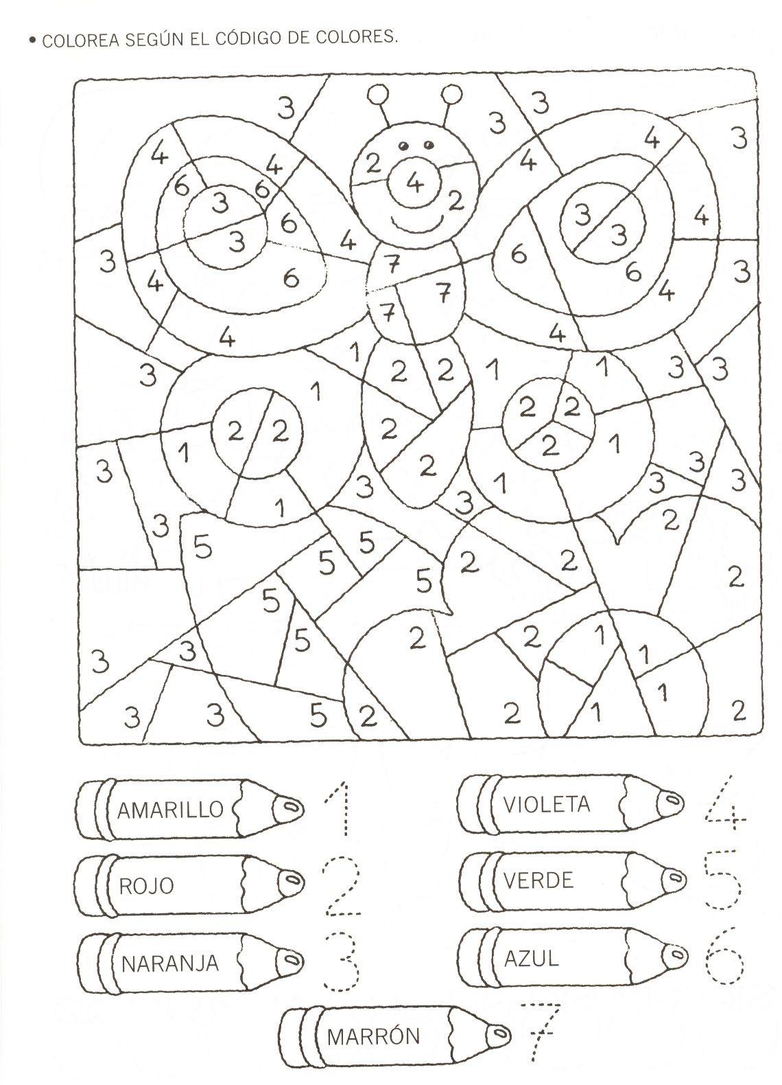 numbers | bugs | Pinterest | Números, Colorear y Logico matematico