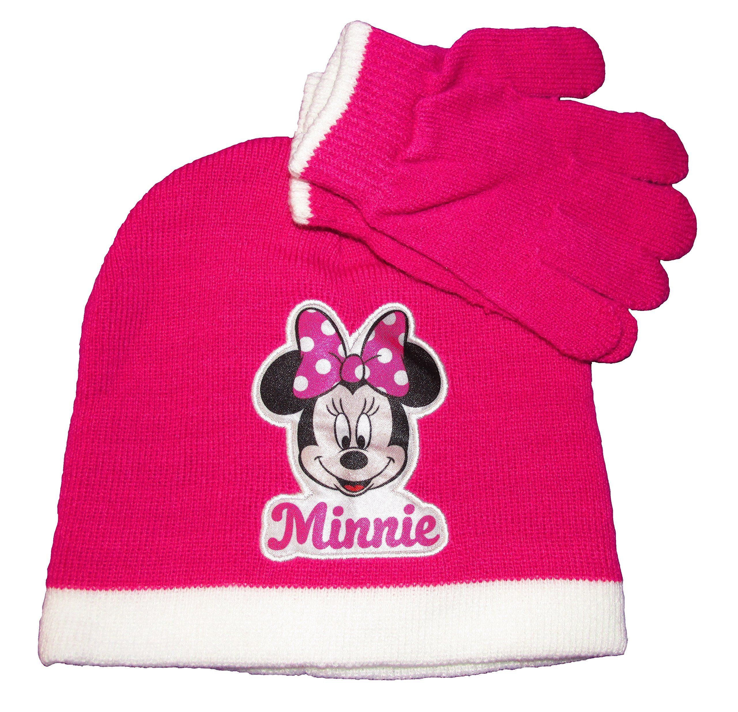 Disney Minnie Mouse Girls Toddler Beanie & Knitted Gloves