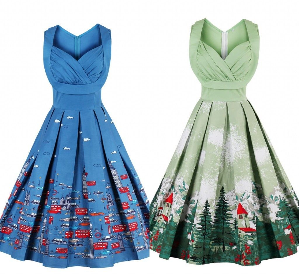 79443b8491 Us Women Vintage 50S Retro Swing Rockabilly Pinup Housewife Evening Party  Dress