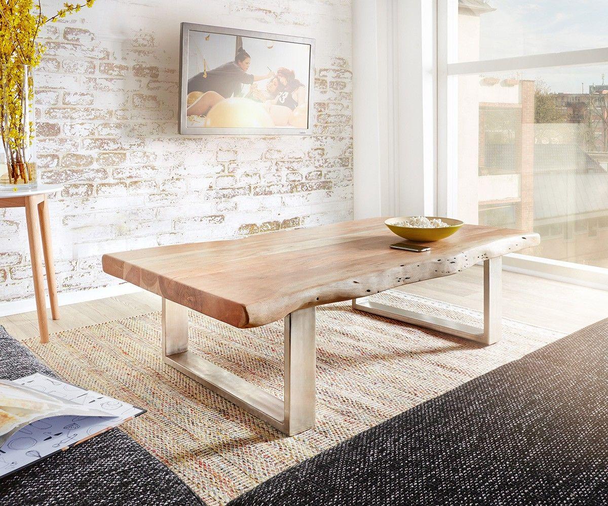 Baumtisch Tapio 150x80 Cm Akazie Natur Metallkufen Tisch Couchtische Hochwertige Möbel