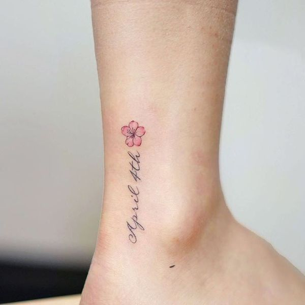 71ff2dda7 Small memorial cherry blossom tattoo design on the ankle | Tattoo ...