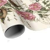 SHIP  French Postcard Gift Wrap  Script Birds Butterflies and Pink Roses on Ivory  READY TO SHIP  French Postcard Gift Wrap  Script Birds Butterflies and Pink Roses on Iv...