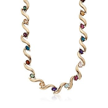 """C. 1980 Vintage 13.85 ct. t.w. Multi-Gem and .36 ct. t.w. Diamond Choker Necklace in 18kt Yellow Gold. 14.5"""""""