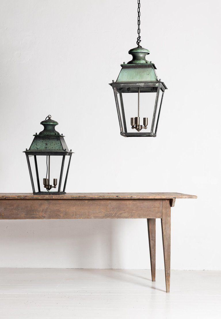 Rare Pair Of Large French 19th Century Verdigris Copper Lanterns Copper Lantern Lanterns Large Lanterns