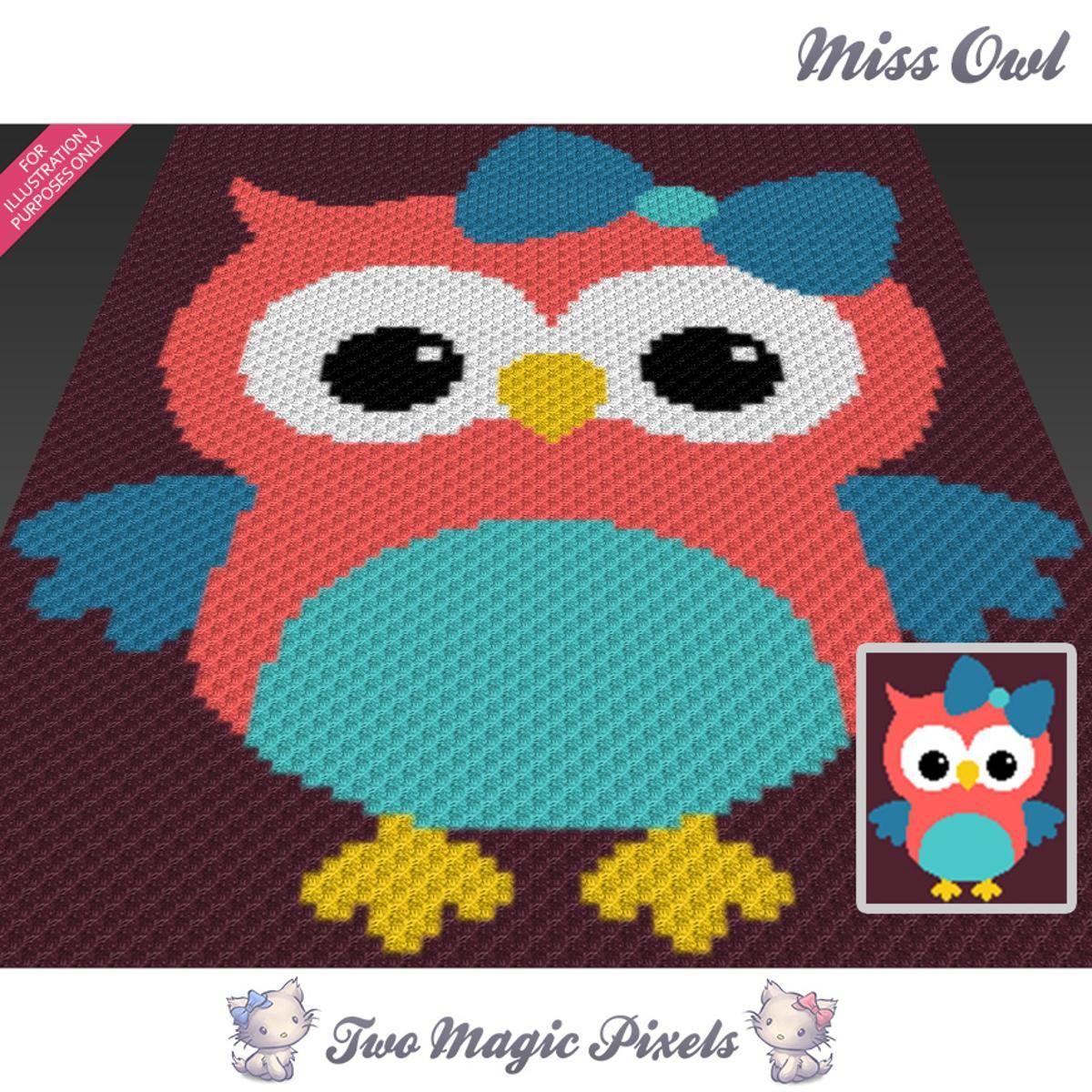 Miss Owl C2C Crochet Graph | Ganchillo mantas, Manta y Colchas