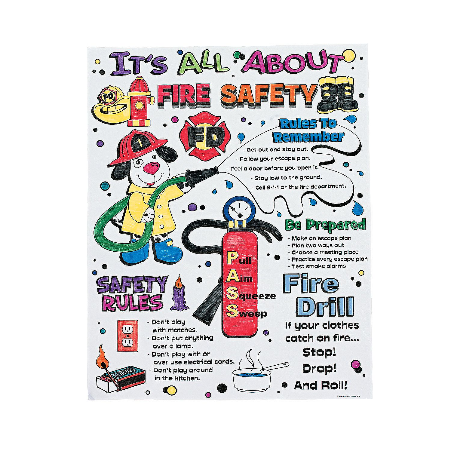 color your own it s all about fire safety posters orientaltrading com dre sardo [ 1500 x 1500 Pixel ]