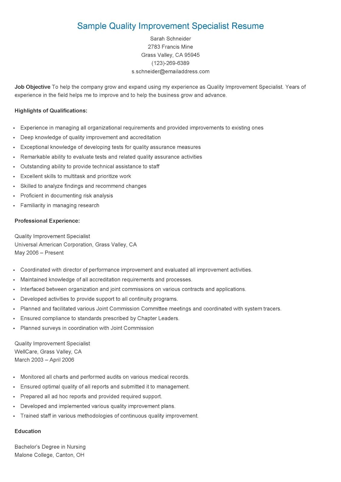 Sample Quality Improvement Specialist Resume  Resame