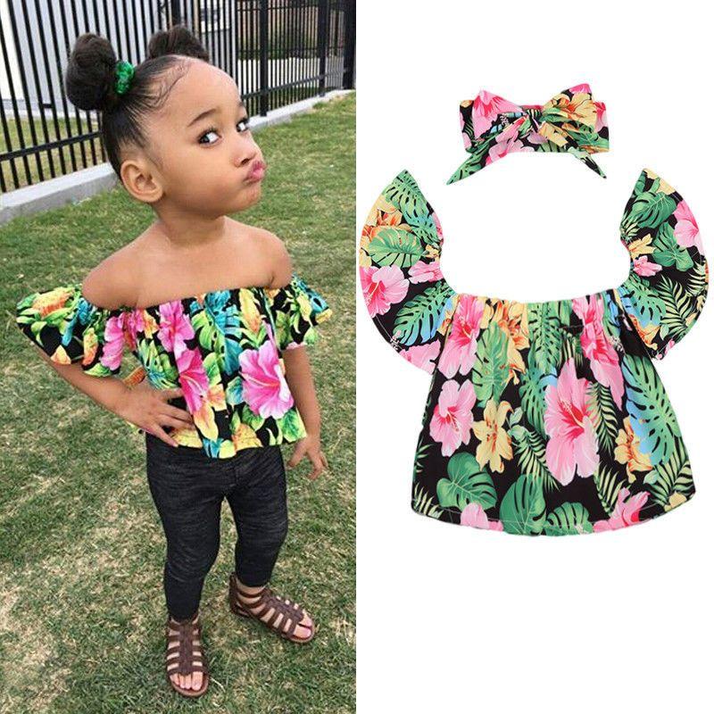 d3571b0b3977 £1.99 GBP - Uk Floral Toddler Baby Girl Kids Off Shoulder Top T-Shirt  Romper+Headband Outfit #ebay #Fashion