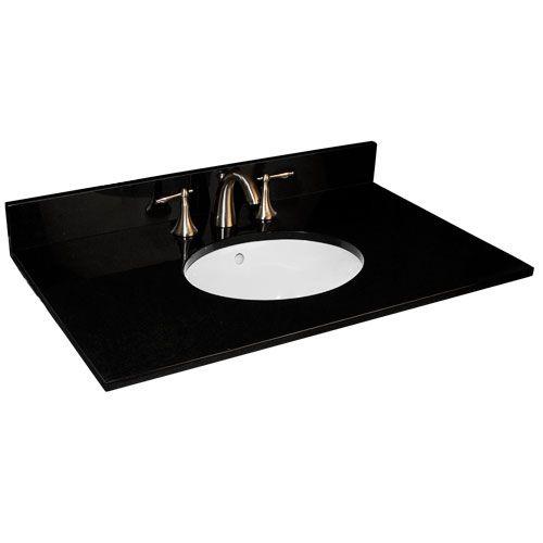 "37"" Granite Vanity Top with Undermount Sink - 8"" Widespread Faucet Drillings"
