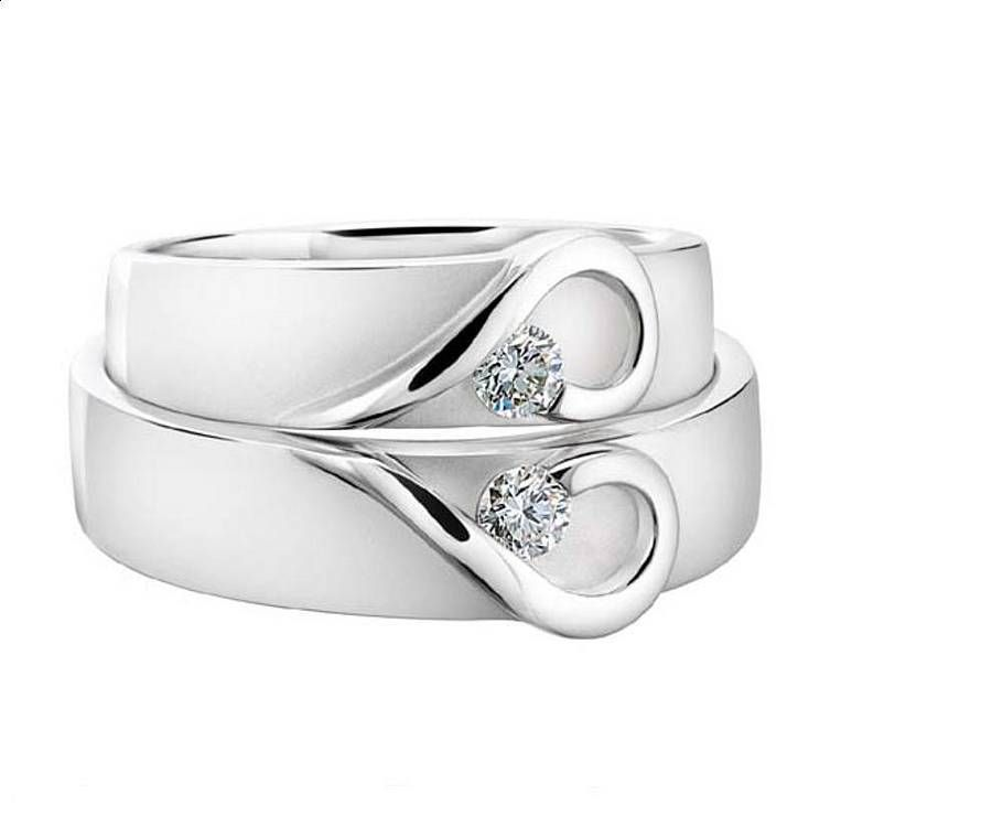 His and hers platinum heart wedding bands ring diamond and weddings his and hers platinum heart wedding bands junglespirit Image collections
