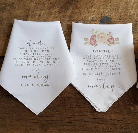 Wedding Handkerchief Gift for Parents, Mother of the Bride Gift, Father of the Bride Gift, Gift Set, Personalized Wedding Gift, Tea Rose