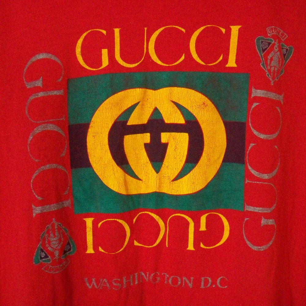 Rare 80s 90s Gucci Logo Tee Dc Vtg Hip Hop Grunge Tank Red