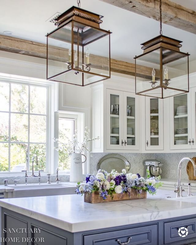 French Country Kitchen With Lanterns Double Pendants