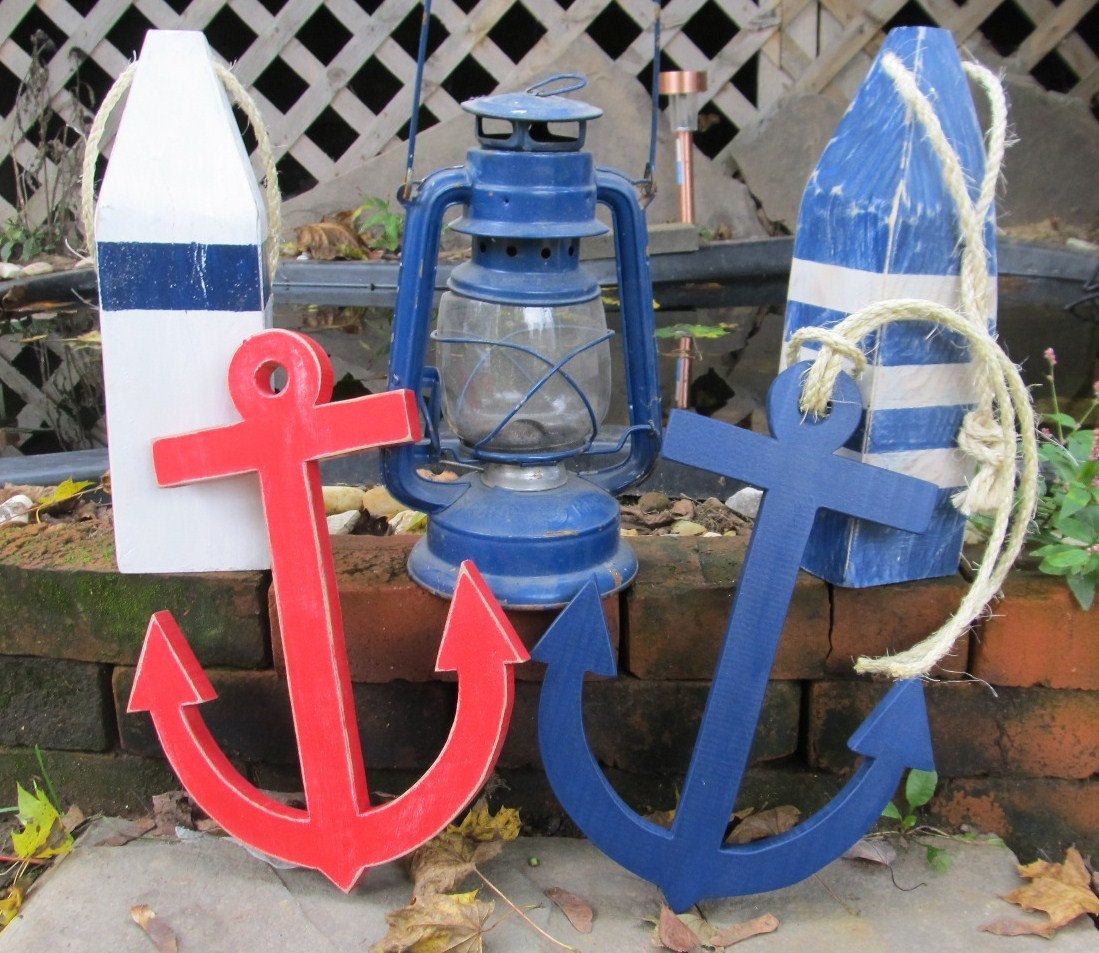 ooak reclaimed wood set of 2 wooden anchors beach decor