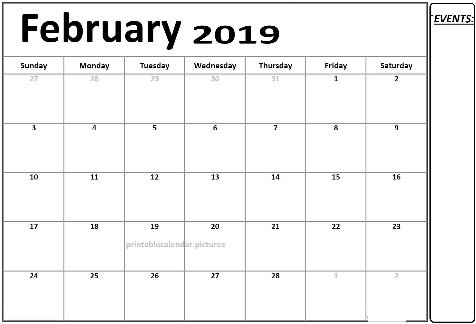February Calendar 2019 Pdf Free Calendar 2019 February Printable Template PDF | Calendar of