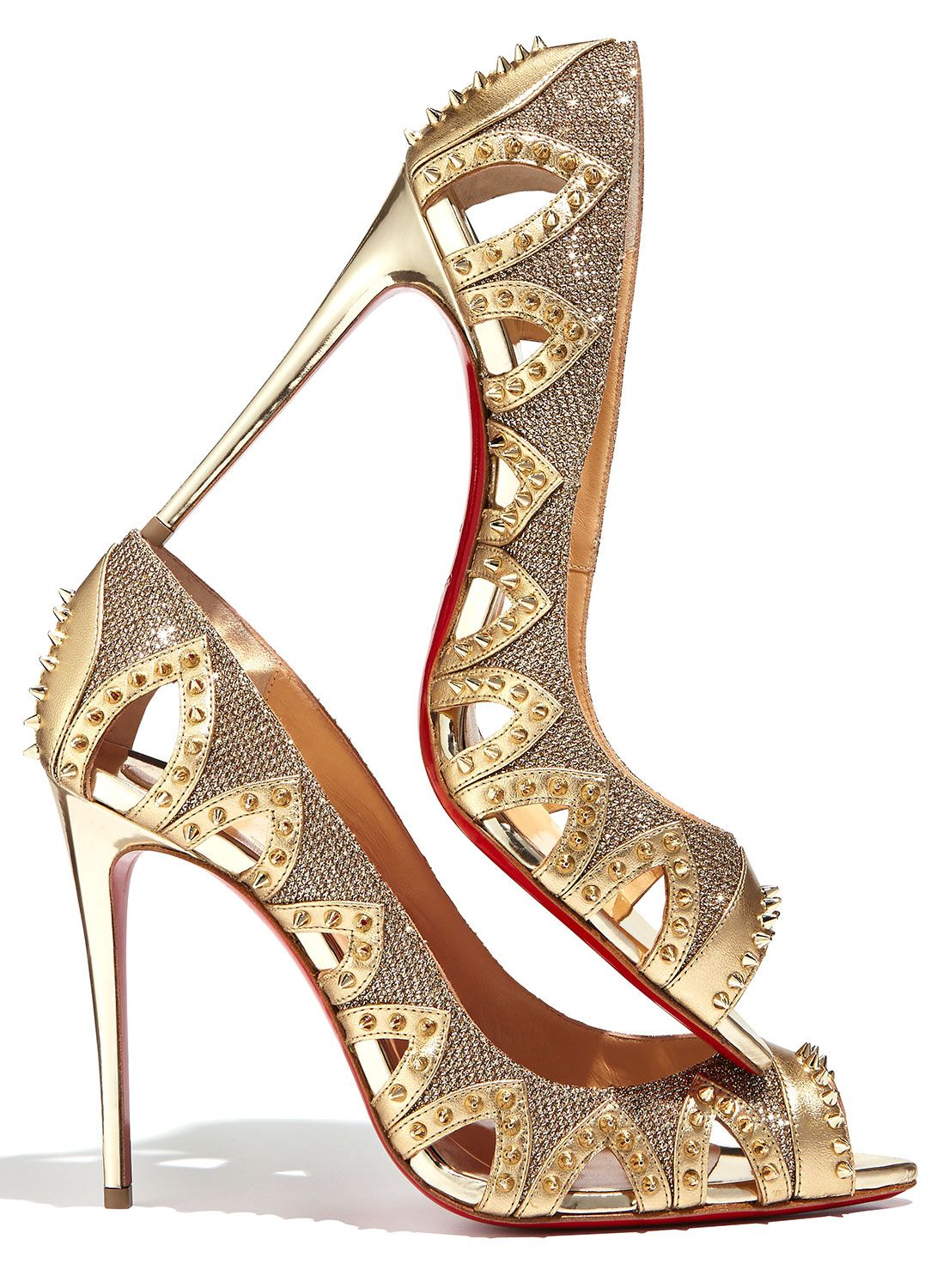 CHRISTIAN LOUBOUTIN Pinder City Spiked Red Sole Pump, Gold