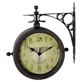 this vintage inspired indooroutdoor clock and thermometer evokes the bustle of a railway - Outdoor Clock Thermometer