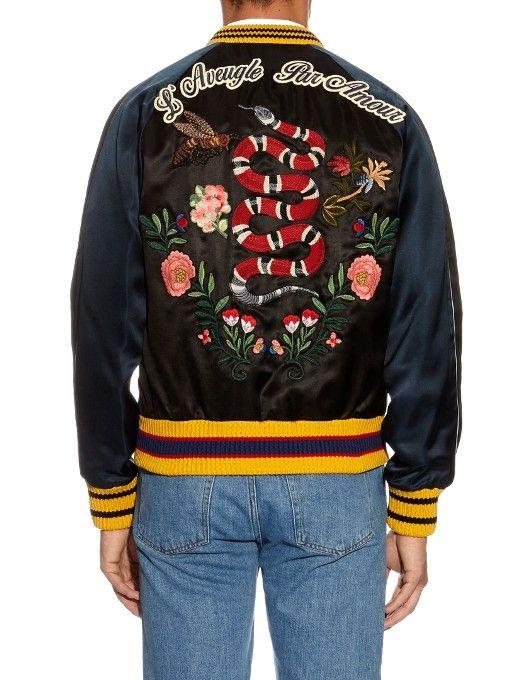 273a6e019 Flower and snake appliqué satin bomber jacket | Gucci ... | DIY ...