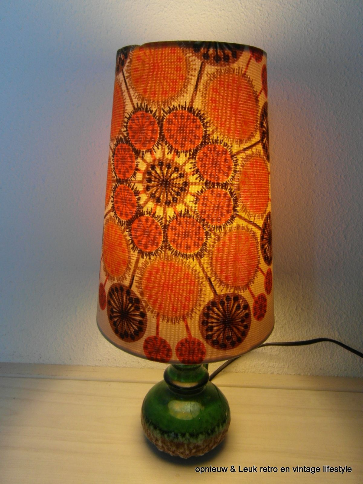Jaren 60 Tafellamp Met Keramieken Voet Groen Tafellamp Retro Lampen