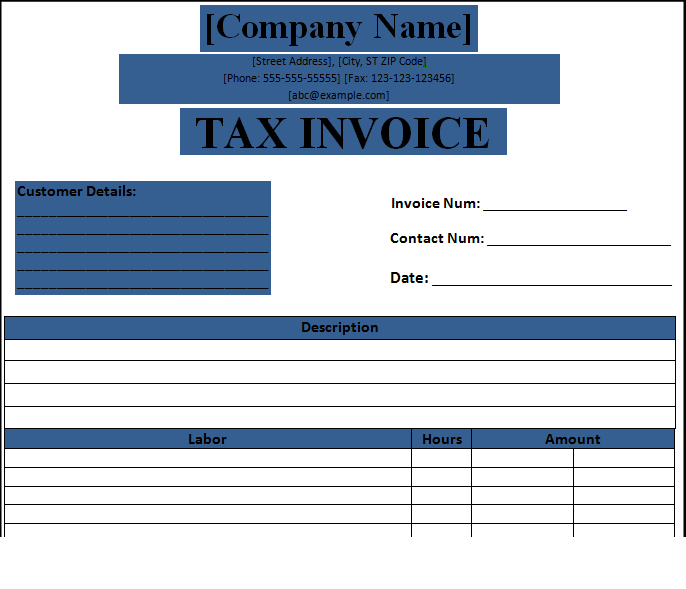 Blank Tax Invoice Template Free Invoice Template Invoice Template Word Invoicing