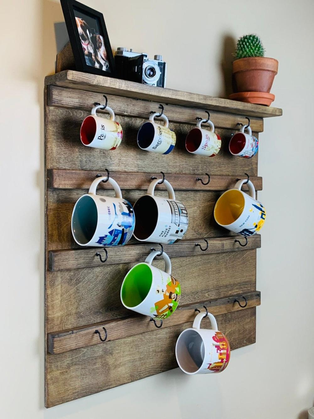 Coffee Mug Holder with Display Shelf, Wall Mounted Coffee Mug holder, Coffee Mug Rack, Coffee Mug Display, Mug Cup Shelf Storage, Starbucks